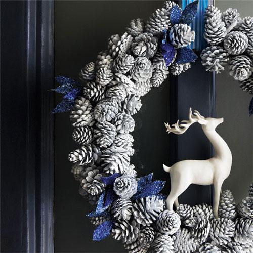 Karácsonyi ajtodísz szarvassal