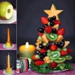 Gyümölcsből készített. Az alapja egy alma és répa majd pálcák segítségével arra gyümölcs illeszthető.